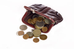 Purse with coins Royalty Free Stock Image