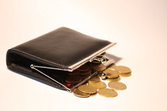 Purse and coins Stock Photo