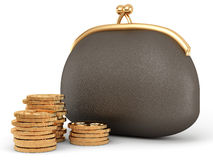 Purse and coins. Leather purse and golden coins Royalty Free Stock Photos