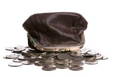 Purse and coins Royalty Free Stock Photography