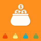 Purse and Coins. Business and Finance, Single Flat Icon. Simple and Minimalistic Style. Vector Stock Photos