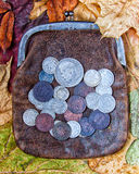 Purse with coins. Old leather purse with silver coins of tsars of House of Romanovs of 19-20 centuries Stock Photos
