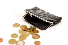 Purse for coins. Open wallet with coins. Coins spilled on a white table Royalty Free Stock Photo