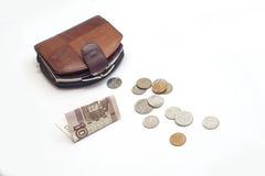 Purse with coins and 100 rubles. Pecuniary aid Royalty Free Stock Photo