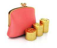 Purse and coins stack Royalty Free Stock Photo