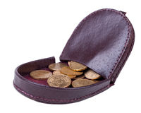 Purse with coins Royalty Free Stock Photos