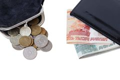Purse with coins and wallet with cash Royalty Free Stock Images