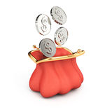Purse and coins. On white background. 3d rendering illustration Royalty Free Stock Photo