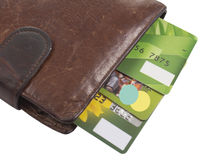 Purse with credit cards. Isolated on a white background Royalty Free Stock Photos