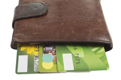 Purse with credit cards. Isolated on a white background Royalty Free Stock Images