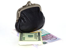 Purse with currency packs Royalty Free Stock Photo