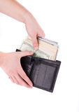 Purse with dollar bills in hand. Royalty Free Stock Photography