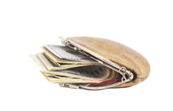 Purse with Dollar Bills Stock Photo