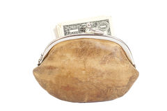 Purse with Dollar Bills Royalty Free Stock Image