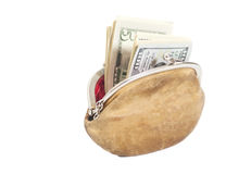 Purse with Dollar Bills Royalty Free Stock Images