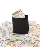 Purse with dollar bills. Stock Images