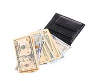 Purse with dollar bills. Royalty Free Stock Images