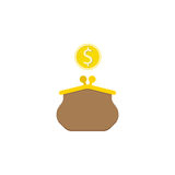 Purse with dollar coin flat icon finance business. Purse with dollar coin flat icon, finance and business, wallet sign vector graphics, a colorful solid pattern Stock Photo