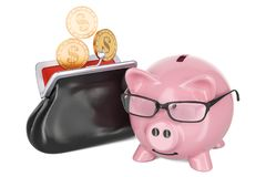 Purse with dollar golden coins and piggy bank, 3D rendering Stock Image