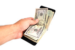 Purse with dollars Stock Image