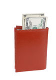 Purse with dollars. On a white background Royalty Free Stock Image