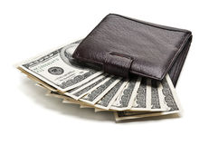 Purse and dollars Royalty Free Stock Photo