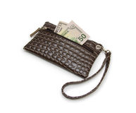 Purse with dollars banknote isolated on white background. Stock Photo