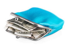 Purse with dollars banknote. Isolated on white background. Focus on dollars Stock Photography