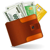 Purse with Dollars and Credit Cards Royalty Free Stock Photography