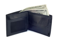 Purse with dollars isolated on the white. Black leather purse with two banknotes face value of 5 and 10 dollars on a white background Royalty Free Stock Images