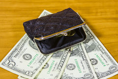 Purse and dollars Stock Images
