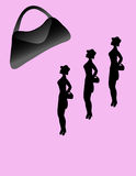 Purse Envy. Three women in silhouette looking at purse over pink background.Hand drawn,no model used Stock Photo