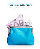 Purse euro banknote Royalty Free Stock Photography