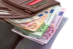 Purse with euro banknotes Stock Photos