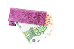 Purse and euro  banknotes Stock Photography