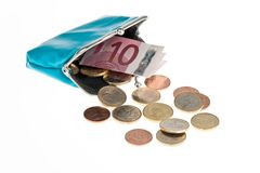 Purse with euro coins Stock Photo