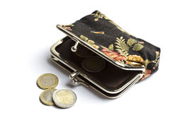 Purse with euro coins isolated on white Royalty Free Stock Photo