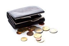 Purse and euro coins Royalty Free Stock Images