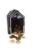 Purse and euro coins Stock Images