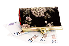 Purse euro money. Cash money money money Royalty Free Stock Image