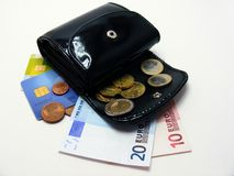 Purse with euro money credit cards Royalty Free Stock Photo