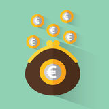Purse with euro. A purse with money. Purse with euro. Vector illustration in flat design Stock Photo
