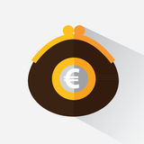 Purse with euro. A purse with money. Purse with euro. Vector illustration in flat design Royalty Free Stock Photo
