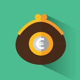 Purse with euro. A purse with money. Purse with euro. Vector illustration in flat design Stock Photography