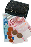 Purse and European money. Cash euros and coins Stock Photos