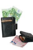 Purse and European money. Cash euros and coins Stock Images