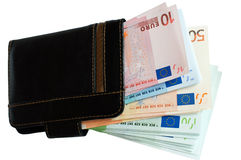 Purse and European money. Cash euros and coins Royalty Free Stock Image