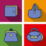 Purse flat icons. Collection of purse flat icons on colorful backgrounds wit shadow stock illustration