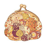 Purse with floral patterns. Vector illustration Stock Photography