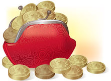 Purse full of coins Stock Images